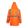 Class3 100% Polyester Veste de sécurité réfléchissante Raincoat