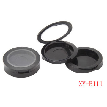 Simple Round Matte Black Compact Powder Container