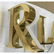 Eletroplating Plated Gold Letter Titanium Illuminated Sign 3D Letter Logo Sign LED Light Letter