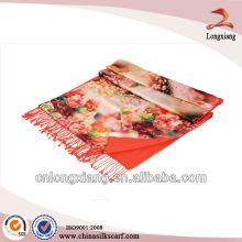 2014 ladies 2-ply digital printed silk scarves wholesale pashmina shawl