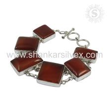 Splendid Carnelian Gemstone Bracelet 925 Sterling Silver Jewelry Jóias em linha feitas à mão indianas