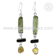 Attractive design multi gemstone silver earring jewelry 925 sterling silver wholesale jewellery exporters