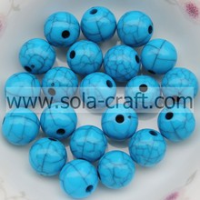 Akrylowy Spacer Assorted Solid Opaque Round Crack Loose Beads Charm 6MM Turkusowy kolor