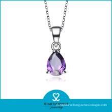 Pure 925 Silver Amethyst Angel Wings Pendant Necklace (N-0083)