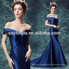 Alibaba de hombro elegante delgado azul real vestido de noche de sirena sexy 2017