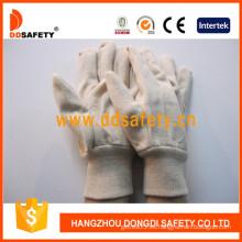 Guantes de graduación de lona / algodón, muñeca de punto (DCD100)