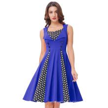 Belle Poque Femmes Polka Dot Retro Vintage 50s Style Blue Cocktail Party Swing Dress BP000282-2