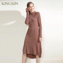 Hot Selling Ladies Knit Dress, 100% camisola de lã, último vestido de malha de moda