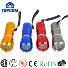 Water resistant Promotion Colorful Body 9 LED Flashlight With 9
