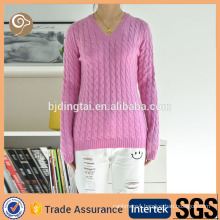 Knitted v neck spring&winter comfortable woman woolen sweater