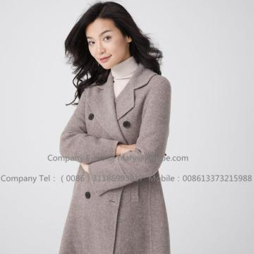 Wanita Long Brown Hooded Cashmere Overcoat