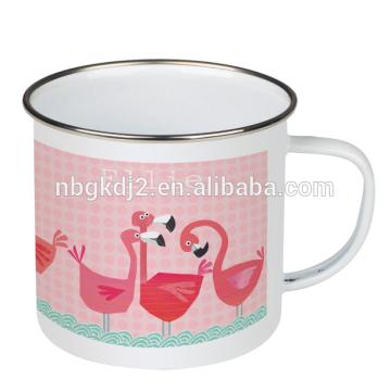 outdoor high quality Customized Printed flamingo enamel camping mug enamel product