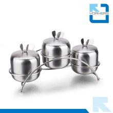 3 piezas de acero inoxidable Spice Condiment Almacenamiento Pot Sal Pepper Botella