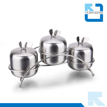 3 pièces en acier inoxydable, épicé, condiment, ranger, pot, sel, poivre, bouteille