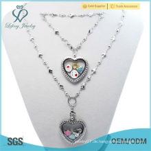 2015 schöne 30mm Kristall Silber magnetischen 316L Edelstahl schwimmenden Herzen locket Armband & Halskette Schmuck Sets