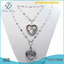 2015 beautiful 30mm Crystal Silver magnetic 316L stainless steel floating heart locket bracelet&Necklace Jewelry Sets