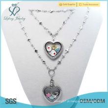 2015 bela 30 milímetros de cristal prata magnética aço inoxidável 316L flutuante coração locket pulseira e colar conjuntos de jóias