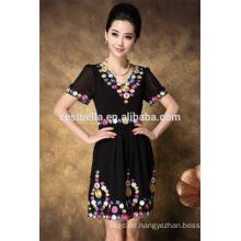 Stickerei-Partei-Kleid-beiläufiges Kleid plus Größenfrauen, die besticktes Kleid kleiden
