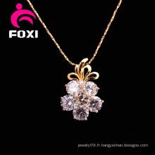 Fleur zircon pierre argent pendentifs bijoux pour les filles