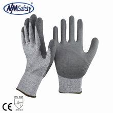 NMSAFETY 13G Nylon e HPPE e fibra de vidro forro revestido pu resistente ao corte nível 5 luvas de trabalho