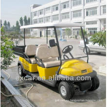 Carro utilitario eléctrico con batería troyana de 4 plazas con un pequeño buggy de golf con cargo
