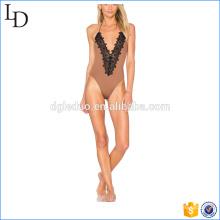Ruche couture arrière costume de natation femme haute jambe plus la taille des maillots de bain