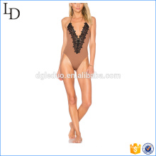 Ruched costura traseira feminina maiô alto perna plus size swimwear