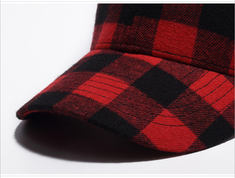 Cotton black and red checkered cap baseball cap (5)
