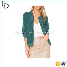 Chaqueta de seda elegante de alta calidad de la chaqueta de satén verde de la señora