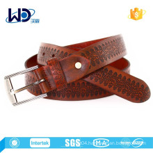 2015 Cow hide brown color mens debossed leather belt