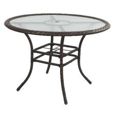Table de Patio ronde jardin osier de rotin meubles extérieurs
