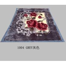 3KG King Size Gray Polyester Flower Printed Raschel Mink Blankets