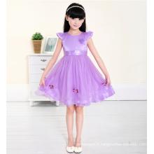 Princesse violette applqiued robes cap manches style nouveau enfants modèles alibaba princesse usine grossiste nouvelle année vêtements de fête