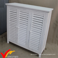 White Shutter 3 Doors Antique Style Wooden Shoe Cabinet