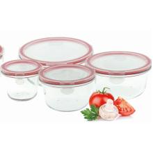 Conjunto de tigela de vidro redondo para forno de microondas
