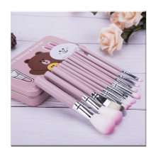 12 pieces pink makeup brush with Iron box