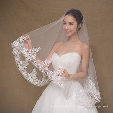 Einfache Design Kurzer Elfenbein Hochzeit Schleier