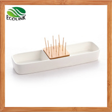 Ceramic Fruit Dish with Bamboo Toothpick Holder