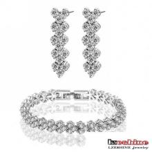 Zircon Bracelet Earring conjuntos de joyería de compromiso (CST0018-B)