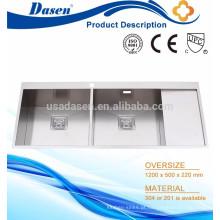 Mão de cor prata construído bacia dupla drainboard calha pia Foshan fábrica
