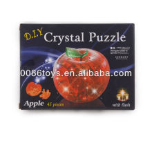 With light Crystal Apple Puzzle 3D DIY Crystal