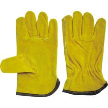 Gant de pilote de pouce Keystone en cuir fendu jaune de vache-9203