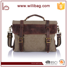 China Factories Wholesale Genuine Leather Canvas Computer Bags Files Handbags For Man