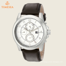 Men′s Stainless Steel Watch with Brown Leather Band 72556