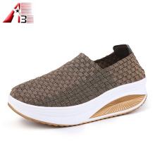 Verão tecido elástico sapatos para mulheres