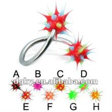 Curvado, Koosh, bola, espiral, barbell, falsificação, sobrancelha, piercing