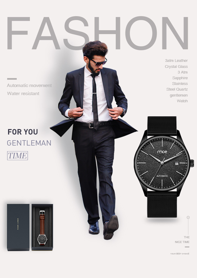 mce brand logo automatic mesh watch men