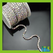 cristal super étroit AB couleur argent base strass rouleau coupe chaîne
