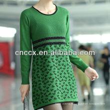 13STC5214 perles a embelli la conception de robe tricotée pour les dames