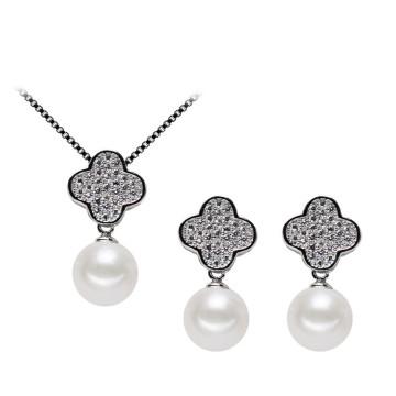 Kleeform Schöne natürliche Süßwasser 925 Silber Perle Set